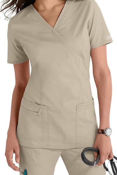 Cherokee Scrub Top Core Stretch Mock Wrap 4728 Khaki At Parker's Clothing & Shoes