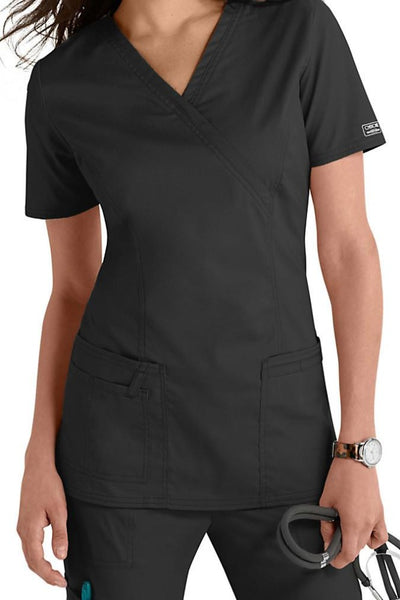 Cherokee Scrub Top Core Stretch Mock Wrap 4728 Pewter At Parker's Clothing & Shoes