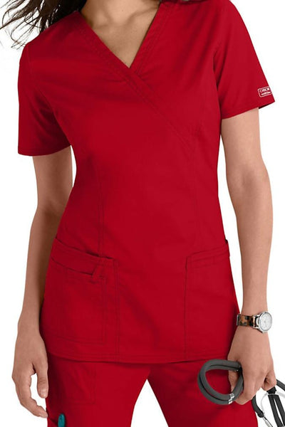 Cherokee Scrub Top Core Stretch Mock Wrap 4728 Red At Parker's Clothing & Shoes