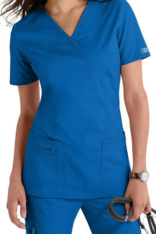 Cherokee Scrub Top Core Stretch Mock Wrap 4728 Royal At Parker's Clothing & Shoes