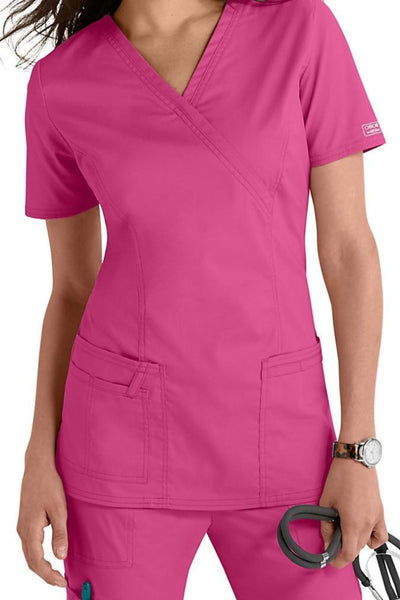 Cherokee Scrub Top Core Stretch Mock Wrap 4728 Shocking Pink At Parker's Clothing & Shoes