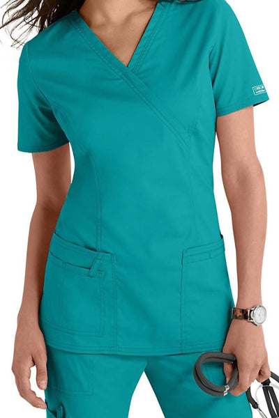 Cherokee Scrub Top Core Stretch Mock Wrap 4728 Teal Blue At Parker's Clothing & Shoes