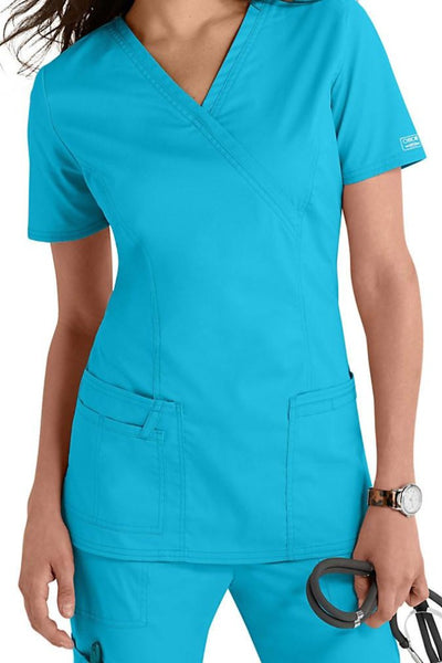 Cherokee Scrub Top Core Stretch Mock Wrap 4728 Turquoise At Parker's Clothing & Shoes