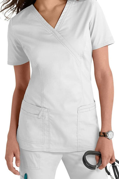 Cherokee Scrub Top Core Stretch Mock Wrap 4728 White At Parker's Clothing & Shoes