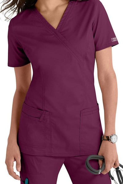 Cherokee Scrub Top Core Stretch Mock Wrap 4728 Wine At Parker's Clothing & Shoes