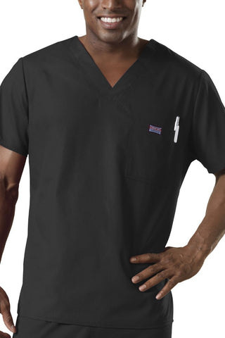 Cherokee Mens Scrub Top Workwear Originals in Black at Parker's Clothing and Shoes