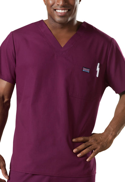 Cherokee Mens Scrub Top Workwear Originals in Wine at Parker's Clothing and Shoes