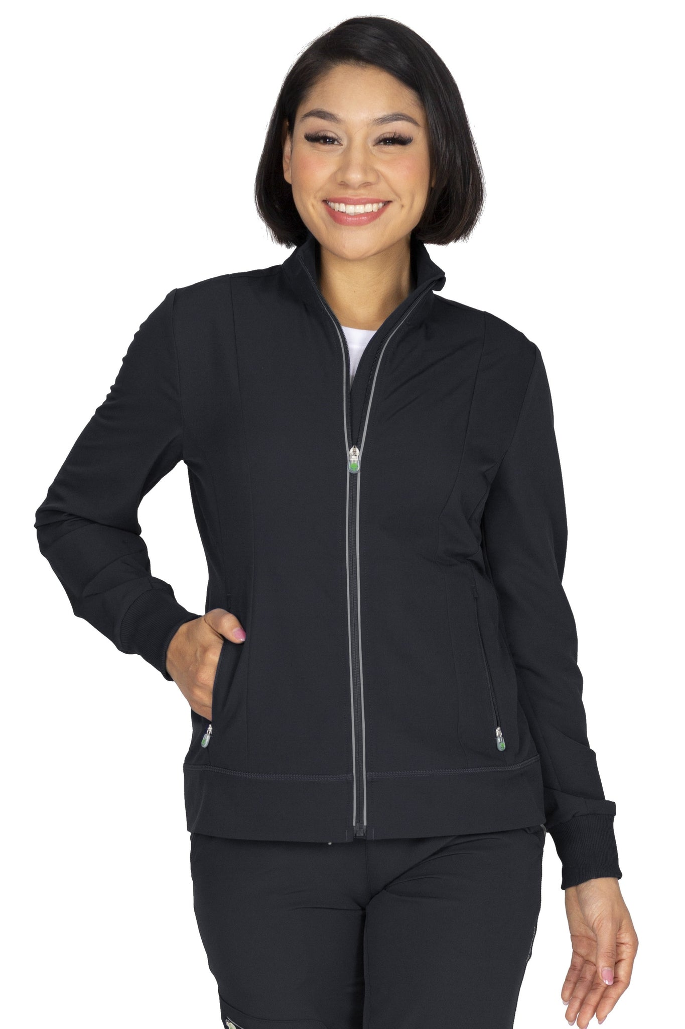 Healing Hands HH360 Carly Scrub Jacket 5067 Black  Athletic Fit - Parker's Clothing and Shoes