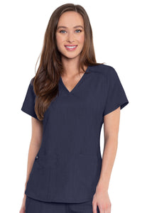 Med Couture Scrub Top Touch Shirttail V-Neck Indigo Heather Plus Sizes - Parker's Clothing and Shoes