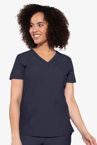 Med Couture Scrub Top Touch Classic V-Neck Indigo Heather Plus Size - Parker's Clothing and Shoes