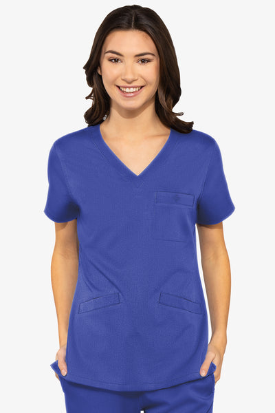 Med Couture Scrub Top Touch Classic V-Neck Royal Plus Size - Parker's Clothing and Shoes