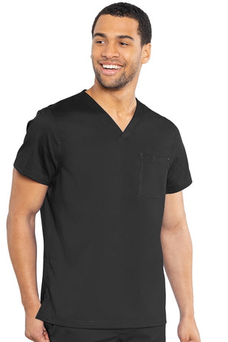 Med Couture Mens Scrub Top RothWear Cadence in Black at Parker's Clothing and Shoes.