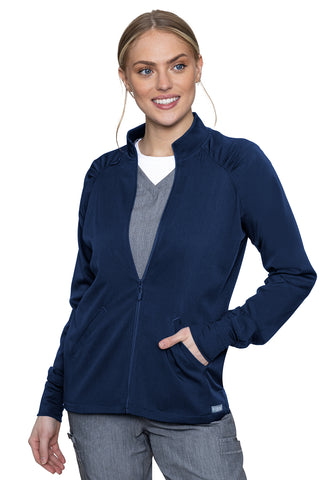 Med Couture Scrub Jacket Touch Raglan Warmup in Navy at Parker's Clothing and Shoes.