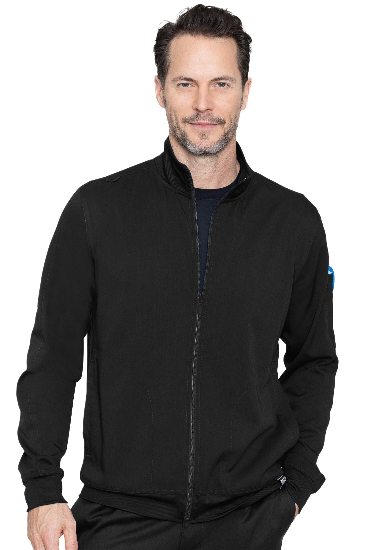 Med Couture Mens Scrub Jacket RothWear Orion Warmup in Black at Parker's Clothing and Shoes.