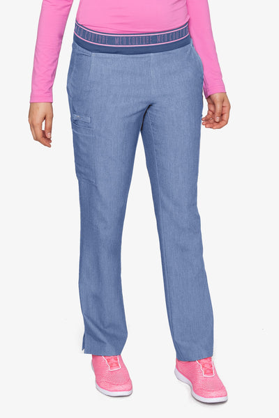Med Couture Scrub Pants Touch Ally Yoga Pant Blue Heather  - Parker's Clothing and Shoes