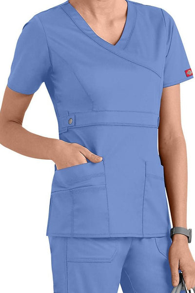 Dickies Scrub Top Gen Flex Mock Wrap 817355 Ceil at Parker's Clothing and Shoes.