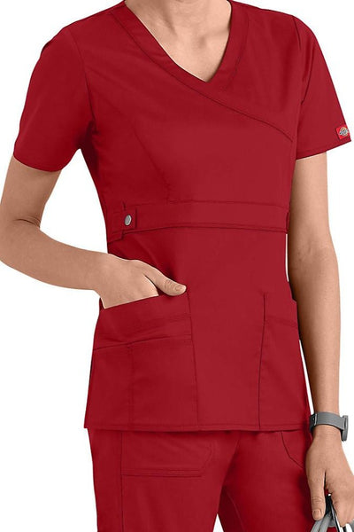 Dickies Scrub Top Gen Flex Mock Wrap 817355 Crimson at Parker's Clothing and Shoes.