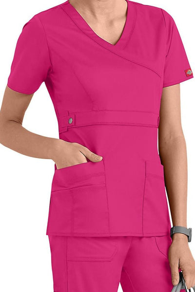 Dickies Scrub Top Gen Flex Mock Wrap 817355 Hot Pink at Parker's Clothing and Shoes.