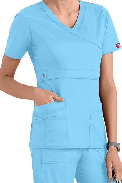 Dickies Scrub Top Gen Flex Mock Wrap 817355 Icy Turquoise at Parker's Clothing and Shoes.