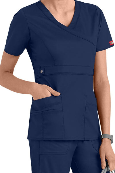 Dickies Scrub Top Gen Flex Mock Wrap 817355 Navy at Parker's Clothing and Shoes.