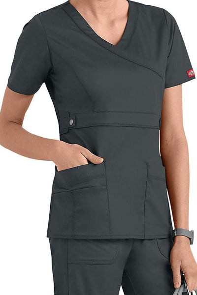 Dickies Scrub Top Gen Flex Mock Wrap 817355 Pewter at Parker's Clothing and Shoes.