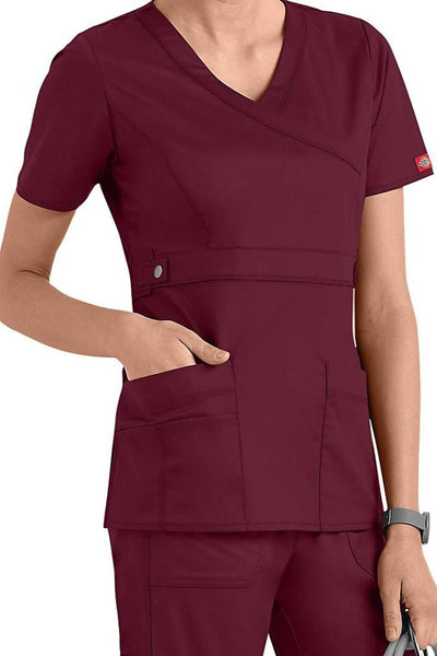 Dickies Scrub Top Gen Flex Mock Wrap 817355 Wine at Parker's Clothing and Shoes.