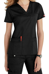 Dickies Scrub Top Gen Flex V Neck 817455 in Black at Parker's Clothing and Shoes