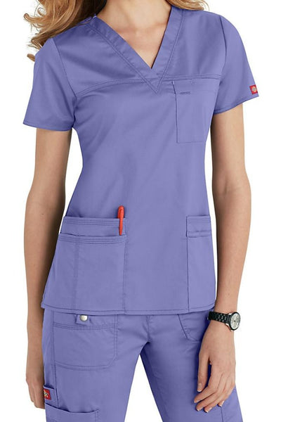 Dickies Scrub Top Gen Flex V Neck 817455 in Ceil at Parker's Clothing and Shoes