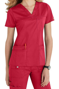 Dickies Scrub Top Gen Flex V Neck 817455 in Crimson at Parker's Clothing and Shoes