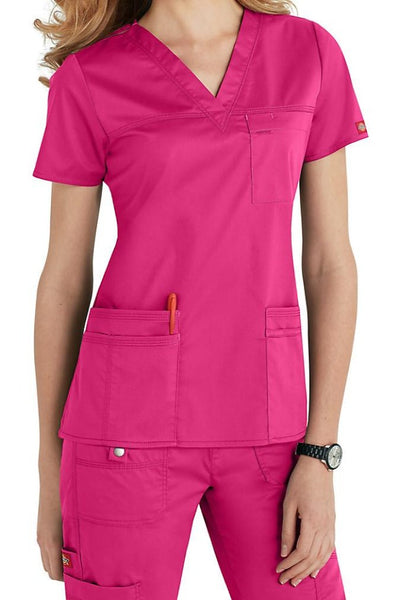 Dickies Scrub Top Gen Flex V Neck 817455 in Hot Pink at Parker's Clothing and Shoes
