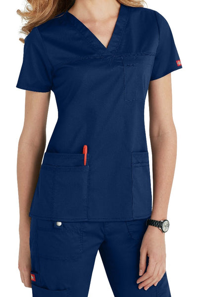 Dickies Scrub Top Gen Flex V Neck 817455 in Navy at Parker's Clothing and Shoes