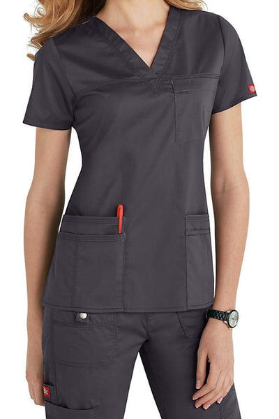 Dickies Scrub Top Gen Flex V Neck 817455 in Pewter at Parker's Clothing and Shoes