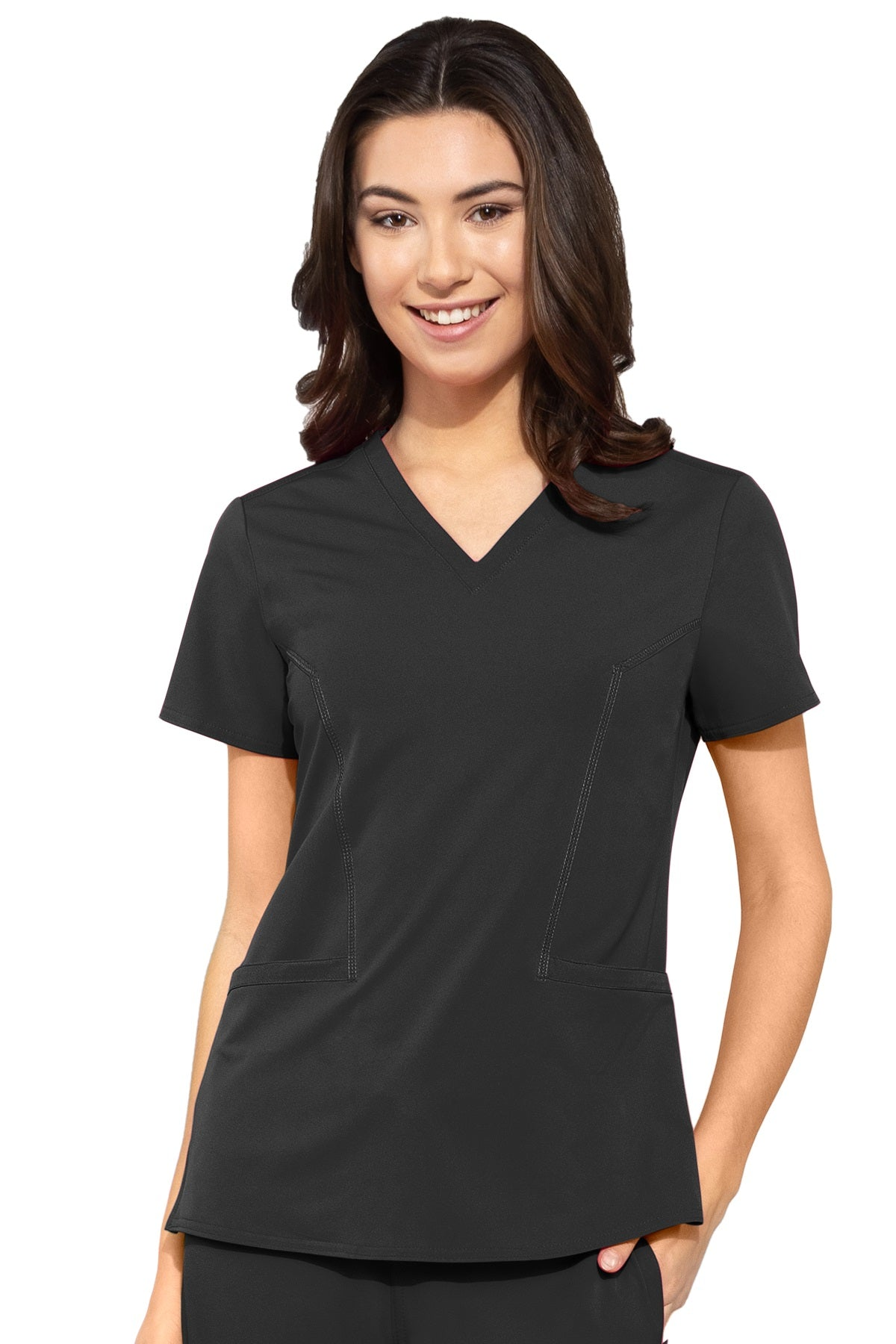 Med Couture Plus Size Scrub Top Peaches Double V-Neck in Black at Parker's Clothing and Shoes