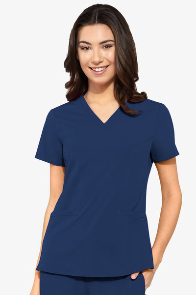 Med Couture Plus Size Scrub Top Peaches Double V-Neck in Navy at Parker's Clothing and Shoes