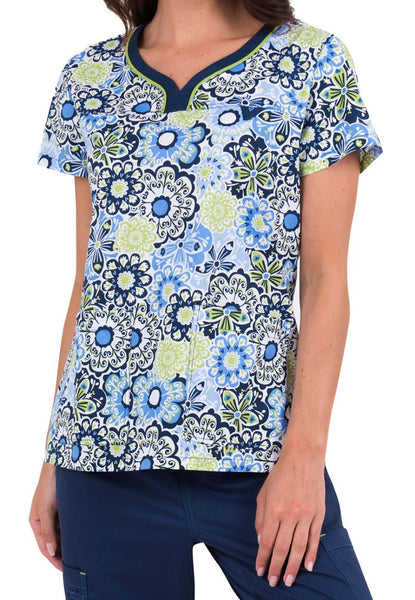 Med Couture Scrub Top Print Plus Sizes Floral Parade