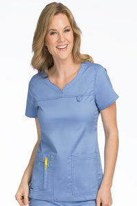 Med Couture Scrub Top MC2 Lexi in Ceil at Parker's Clothing and Shoes