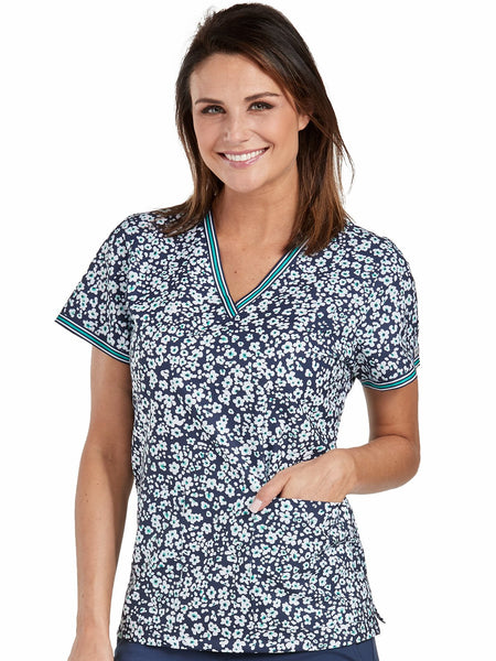 Med Couture Scrub Top Print Plus Sizes Navy Daisies