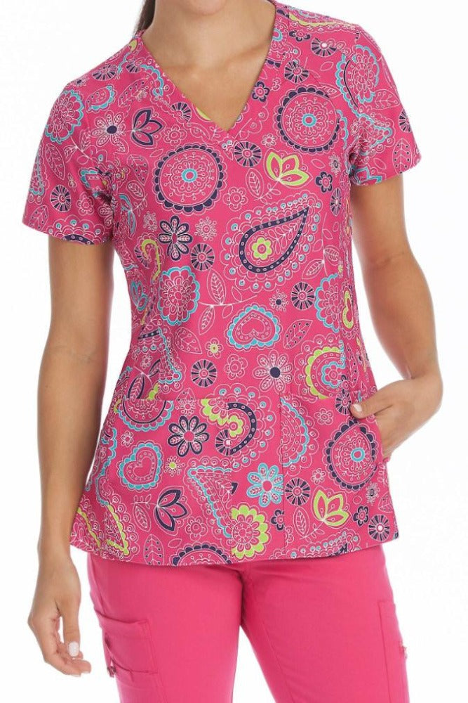 Med Couture Activate Pink Bloom V-Neck Print Scrub Top - Parker's Clothing & Gifts