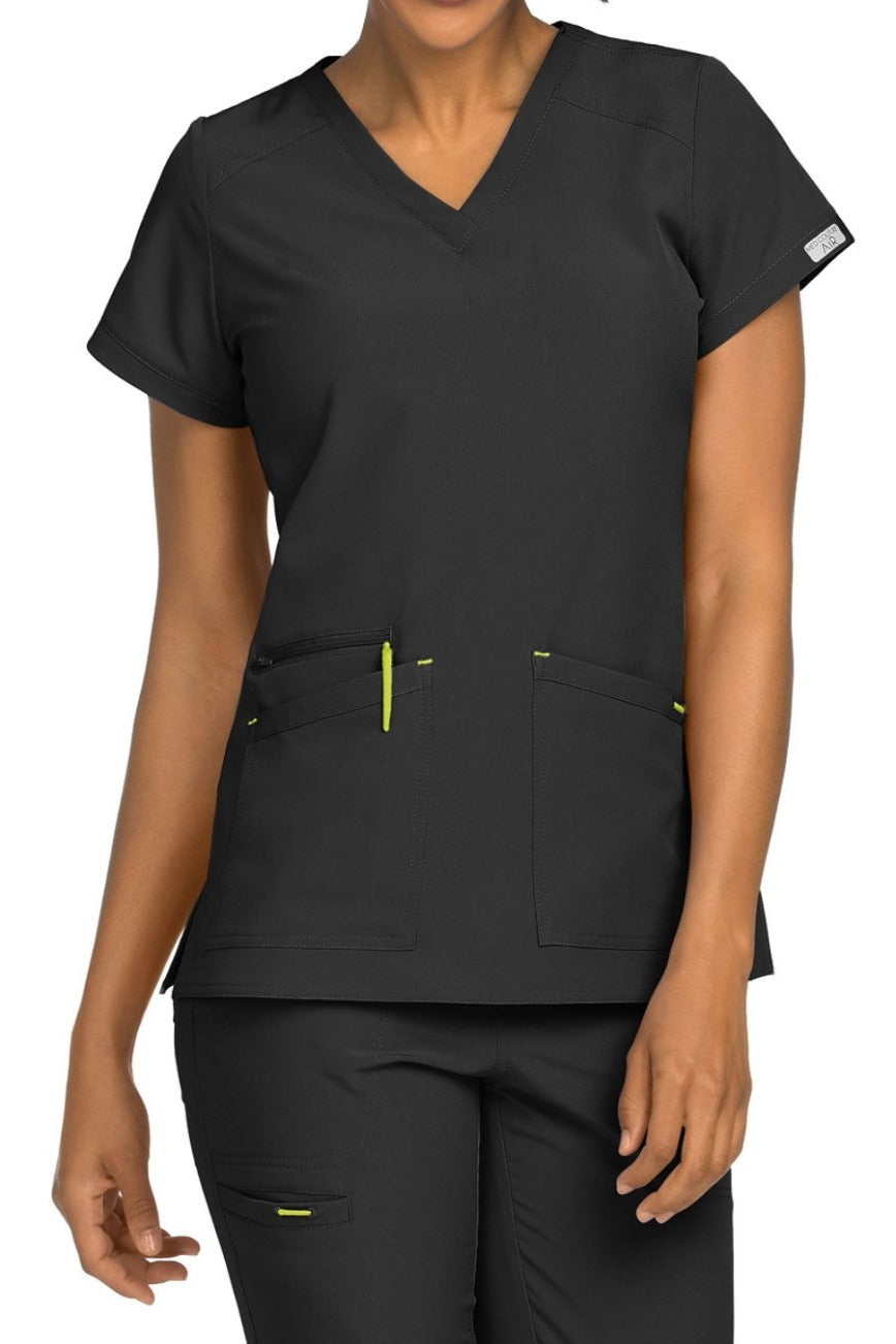 Med Couture Scrub Top Air Sky High in Black at Parker's Clothing and Shoes
