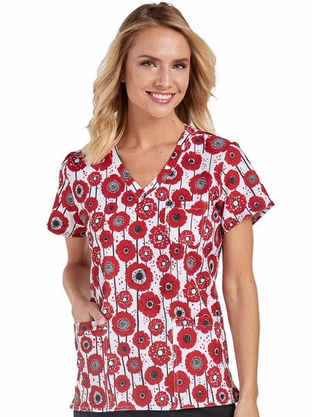 Med Couture Scrub Top Print Plus Sizes Precisely Poppy