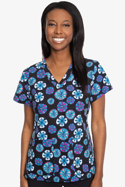 Med Couture Scrub Top Print Plus Sizes Bright Medallion