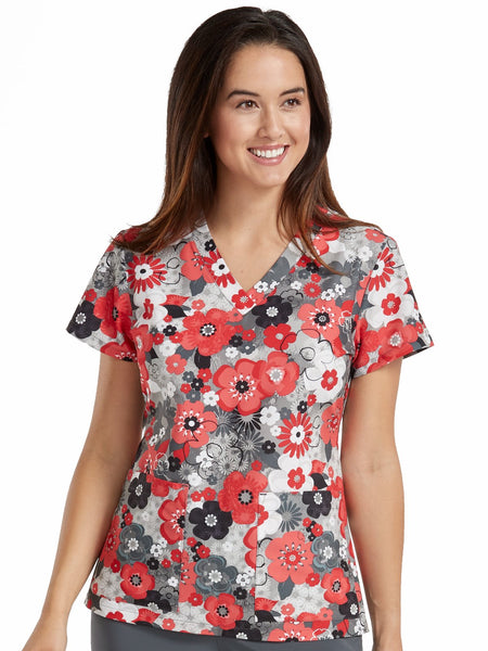 Med Couture Scrub Top Prints Coral Shadows