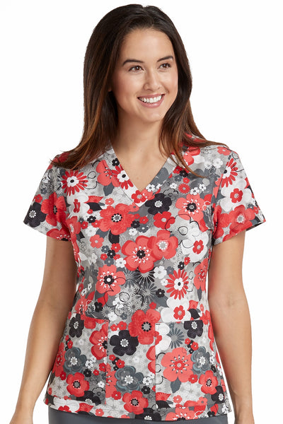 Med Couture Scrub Top Print Plus Sizes Coral Shadows