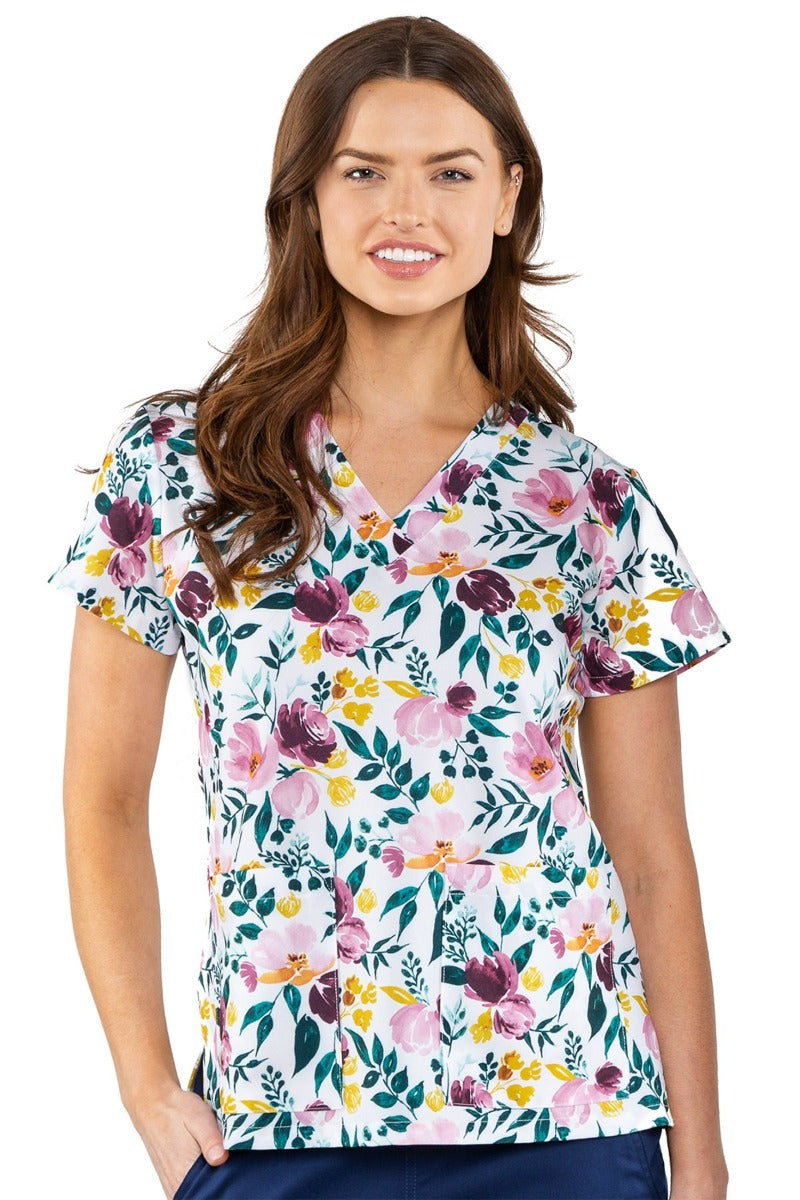 Med Couture Scrub Top Print Plus Sizes Fall Floral
