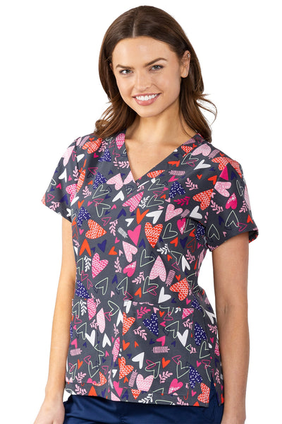 Med Couture Scrub Top Print Plus Sizes Falling Hearts