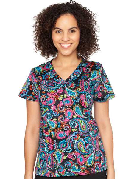 Med Couture Scrub Top Print Plus Sizes Festive Paisley