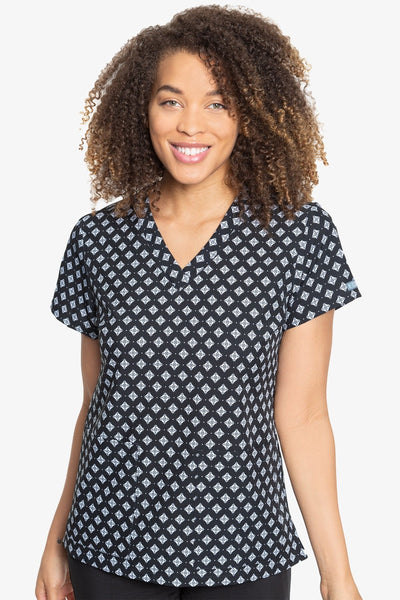 Med Couture Scrub Top Print Plus Sizes Geo Tile