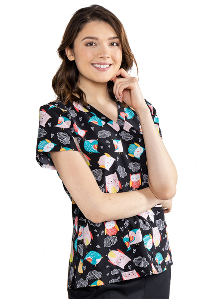 Med Couture Scrub Top Print Plus Sizes Hootie