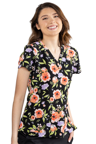 Med Couture Scrub Top Print Plus Sizes Flower Fields