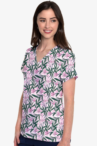 Med Couture Scrub Top Print Plus Sizes Palm